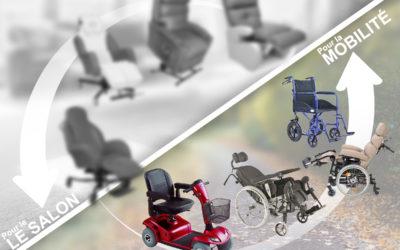 Différents fauteuils, fauteuils roulants, scooter, materiel medical pour la mobilité
