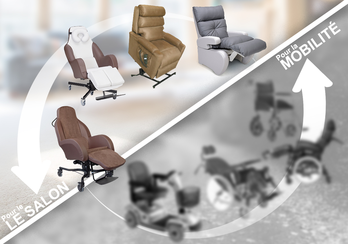 Différents fauteuils, materiel médical pour le salon